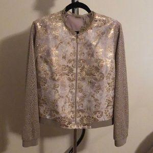 Ellie Tahari gold metallic jacket size L